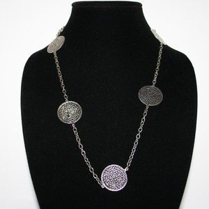 Long silver medallion chain necklace 34""